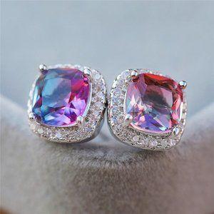 NEW White Gold Rainbow Diamond Halo Stud Earrings